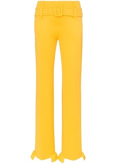 Prada belted ruffle hem straight trousers