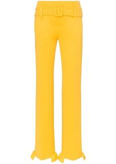 Prada belted ruffle hem straight trousers