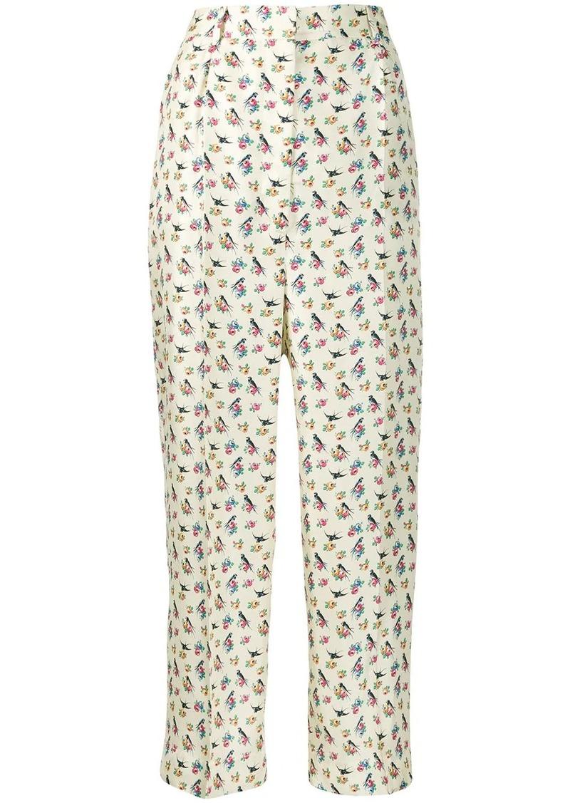 Prada bird print cropped trousers