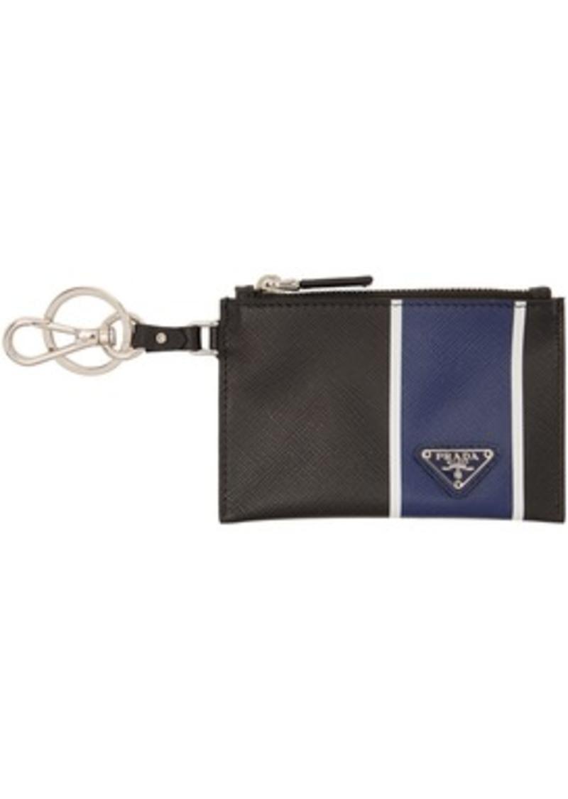 Prada Black & Blue Saffiano Zip Pouch Keychain