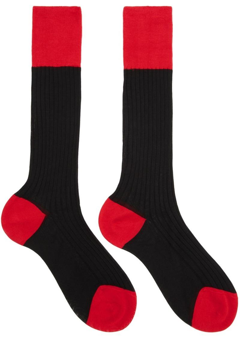 Prada Black & Red Bi-Color Socks