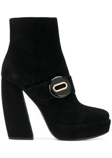 Prada Black 125 Suede Platform Ankle Boots