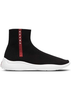 Prada black Americas Cup high top sock sneakers