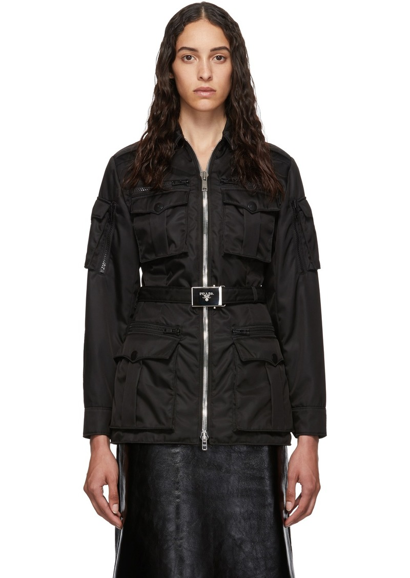 Prada Black Belted Military Jacket