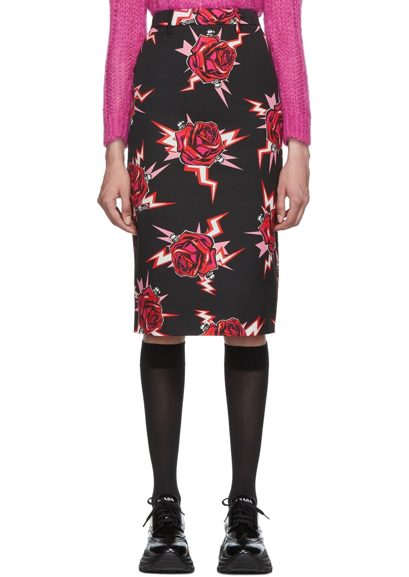Prada Black Broken Roses Pencil Skirt
