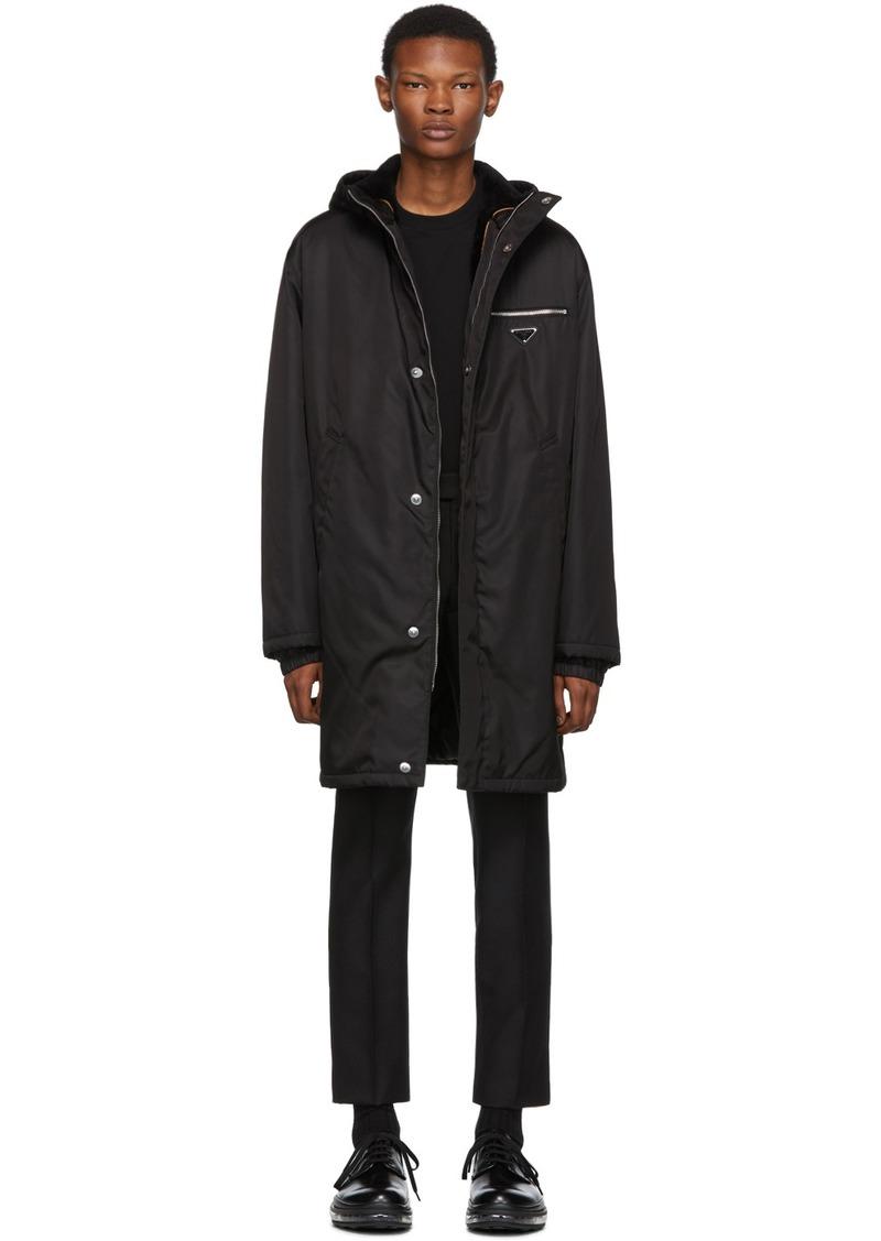 Prada Black Fur-Lined Coat