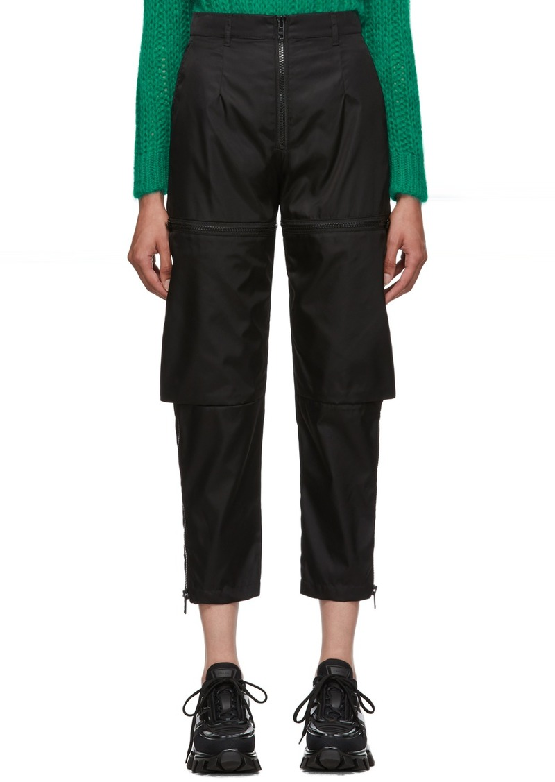 Prada Black Gabardine Zip Trousers