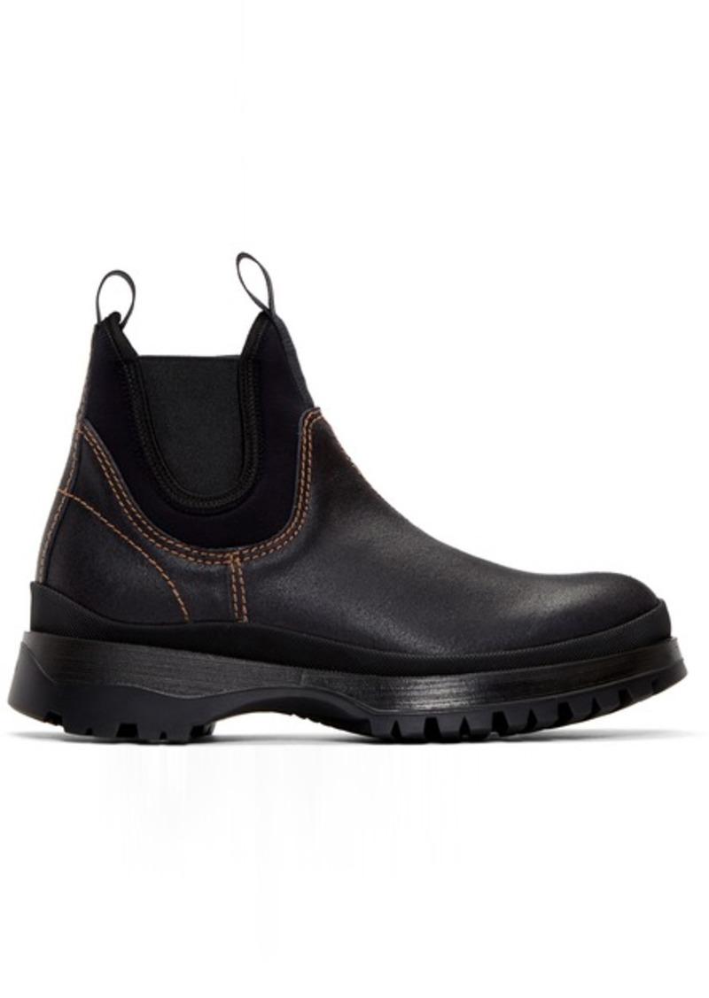 Prada Black Leather & Neoprene Chelsea Boots
