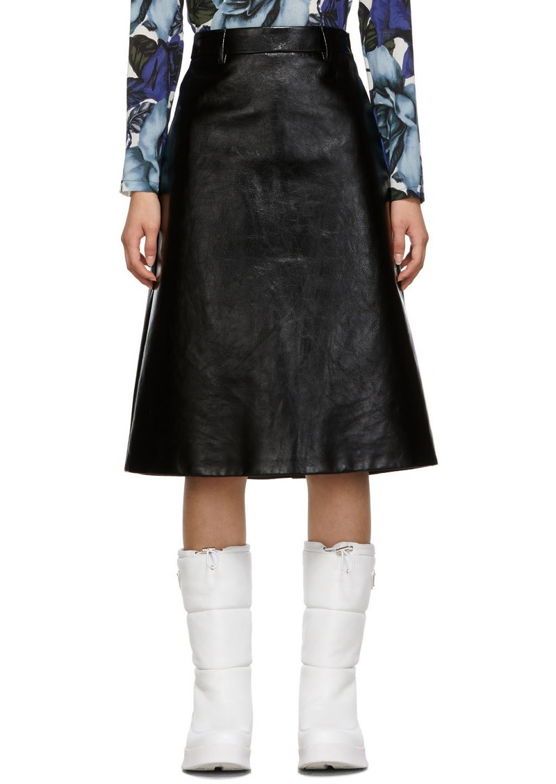 Prada Black Leather A Line Skirt