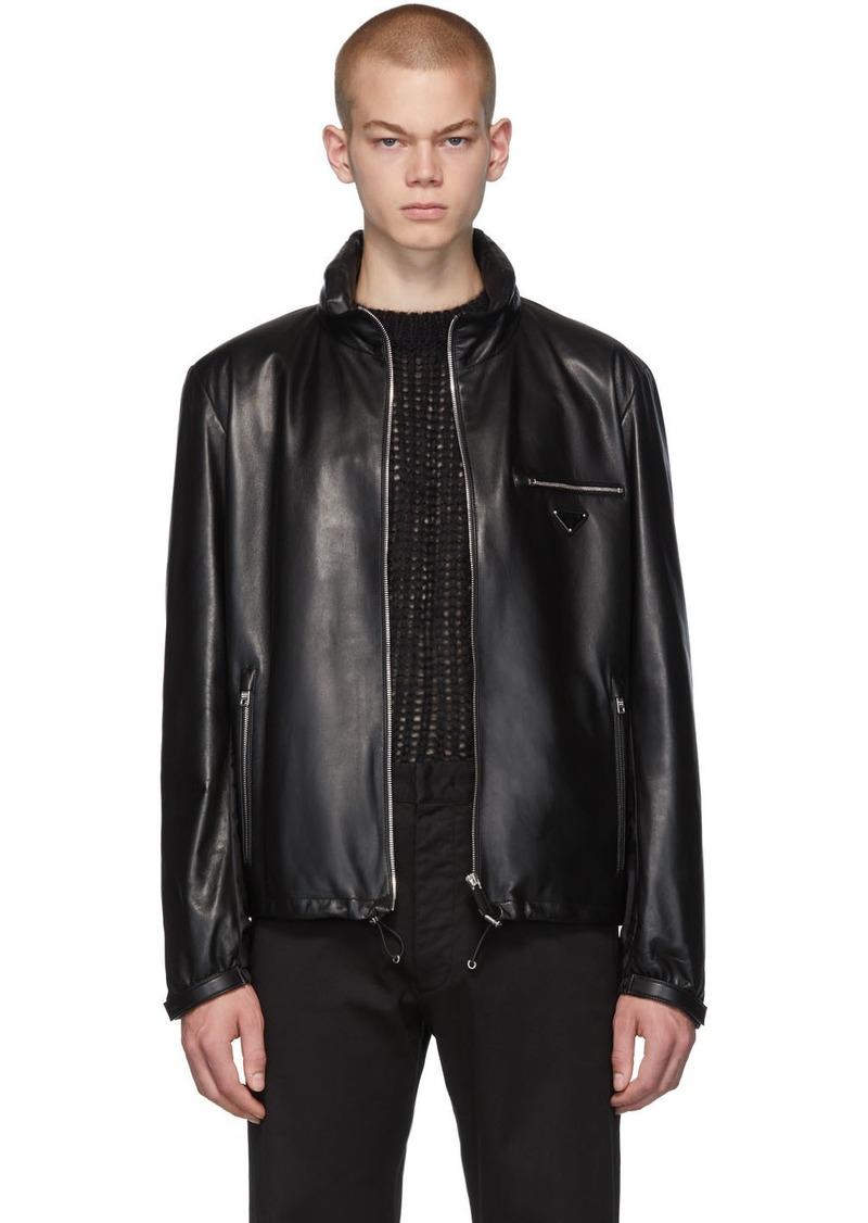 Prada Black Leather Triangle Jacket