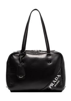 Prada Black Logo Bowling Bag