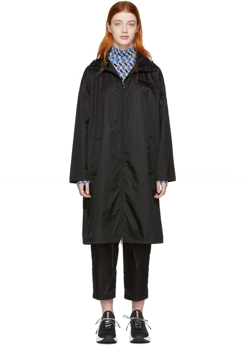 Prada Black Nylon Long Coat
