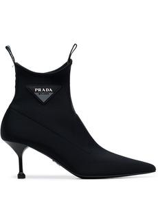 Prada black pointed 65 neoprene sock boots