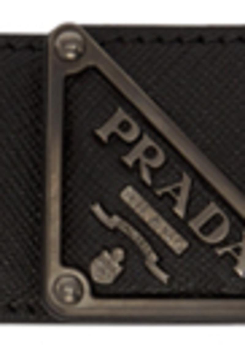 Prada Black Saffiano Triangle Belt