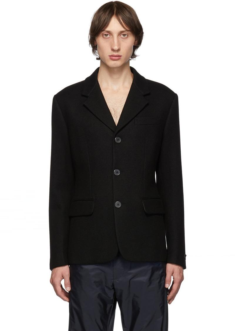Prada Black Spread Collar Runway Blazer