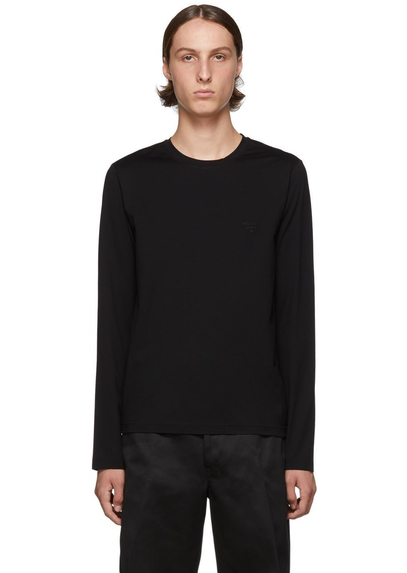Prada Black Stretch Long Sleeve T-Shirt