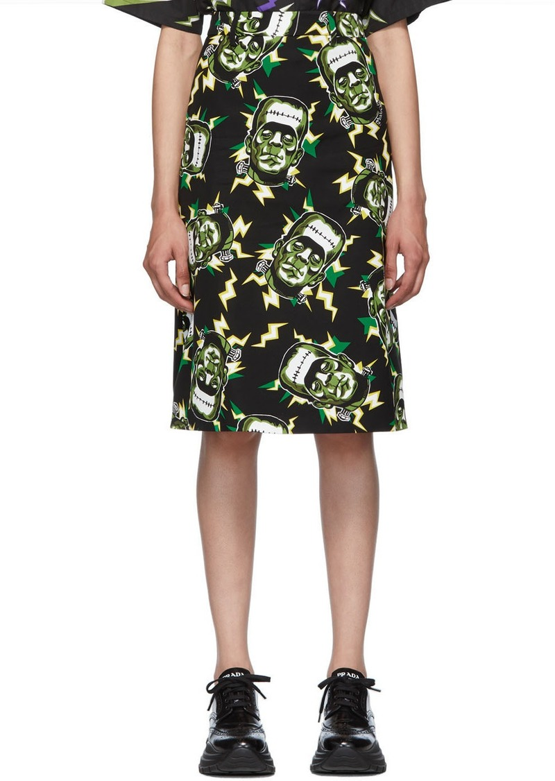 Prada Black Universal Studios Edition Frankenstein Pencil Skirt