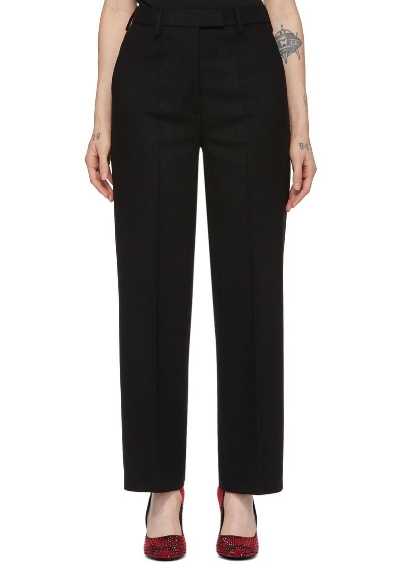 Prada Black Wool Straight Trousers