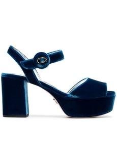 Prada Blue 85 Velvet platform sandals