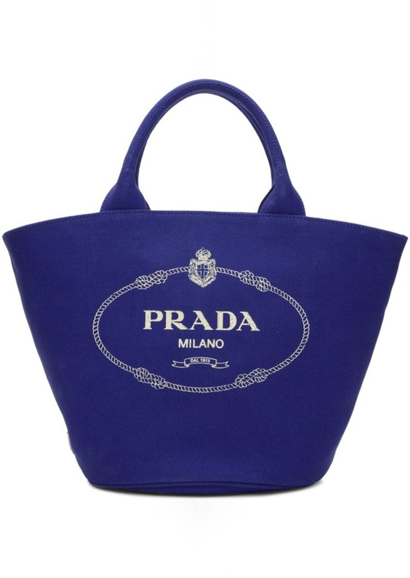 Prada Blue Canvas Logo Tote