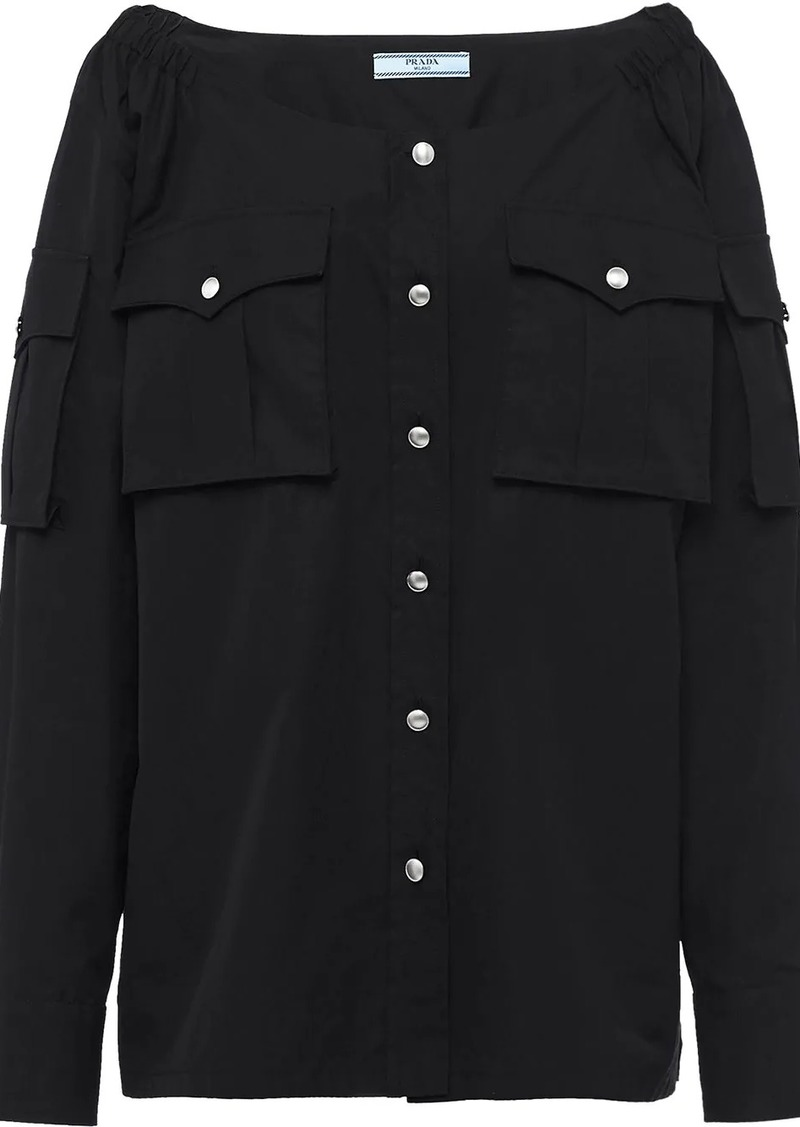 Prada boat neck buttoned blouse