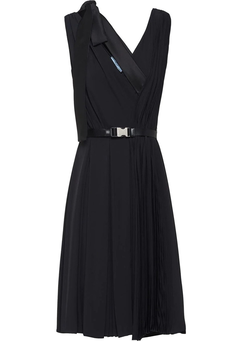 Prada bow detail V-neck dress