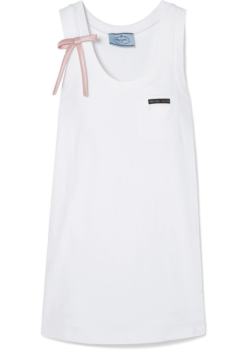 Prada Bow-detailed Appliquéd Cotton-jersey Mini Dress