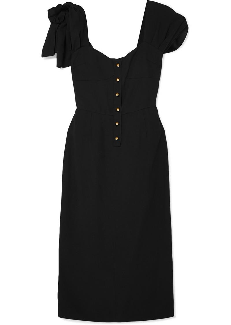 Prada Bow-embellished Crepe Midi Dress