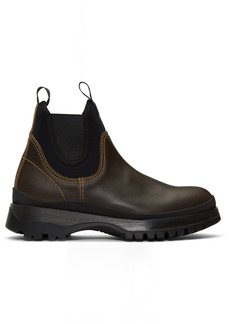 Prada Brown Chelsea Boots