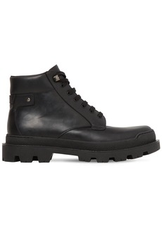 Prada Brushed Leather Lace-up Boots