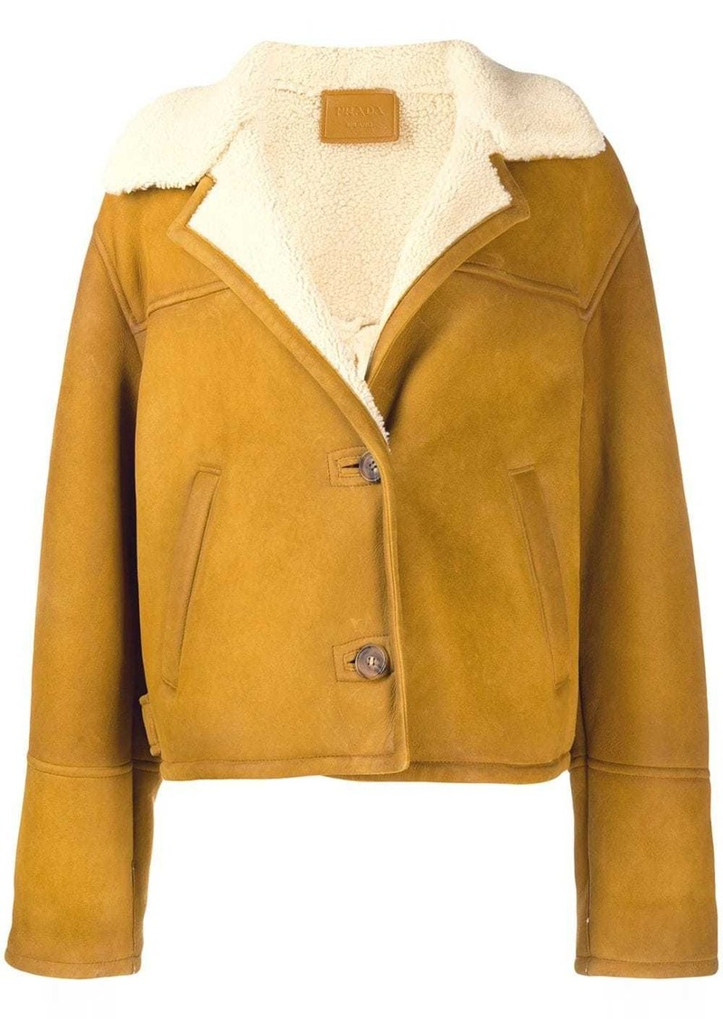 Prada buttoned shearling cropped jacket