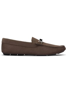 Prada calf suede slip on loafers