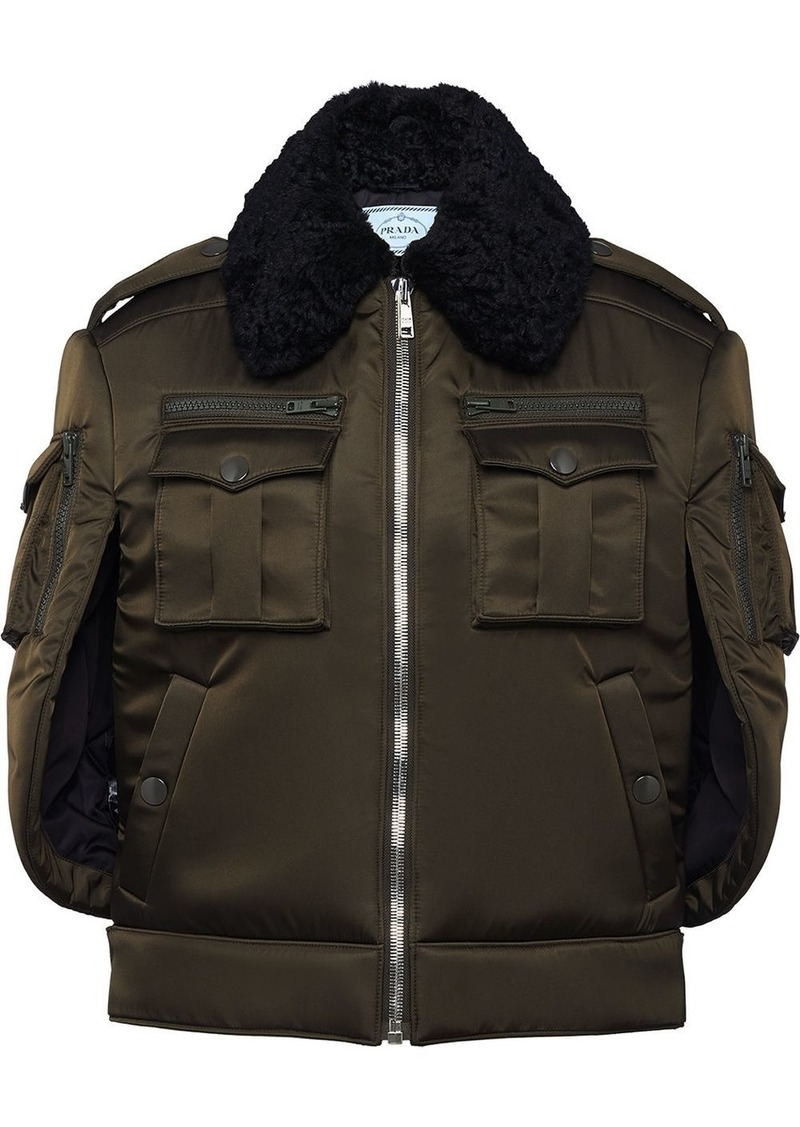 Prada cape sleeves bomber jacket
