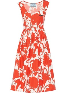 Prada carnation print poplin dress