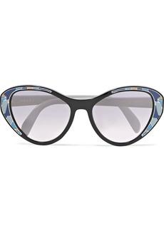 Prada Cat-eye acetate mirrored sunglasses