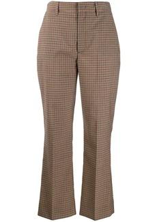Prada checked kickflare trousers
