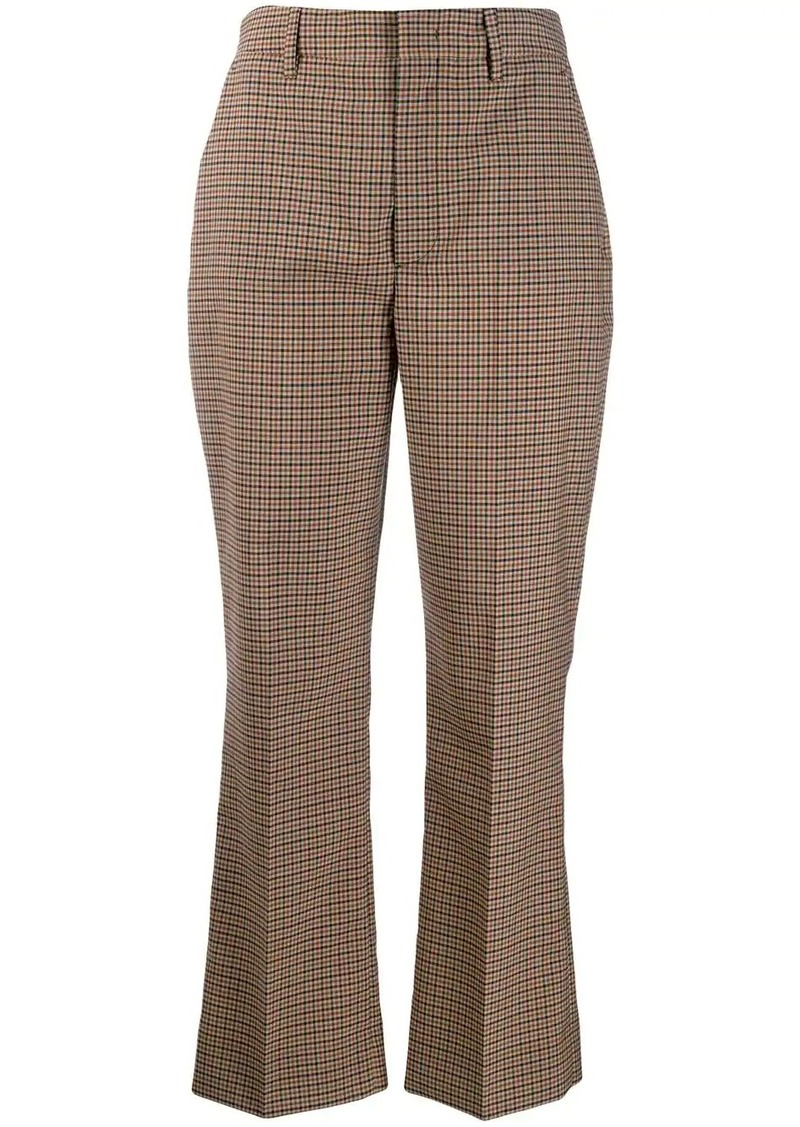 Prada checked kickflare trousers