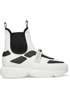 Prada Cloudbust Logo-embossed Rubber, Neoprene And Leather-trimmed Mesh High-top Sneakers