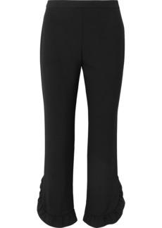 Prada Cropped Ruffled Crepe Straight-leg Pants