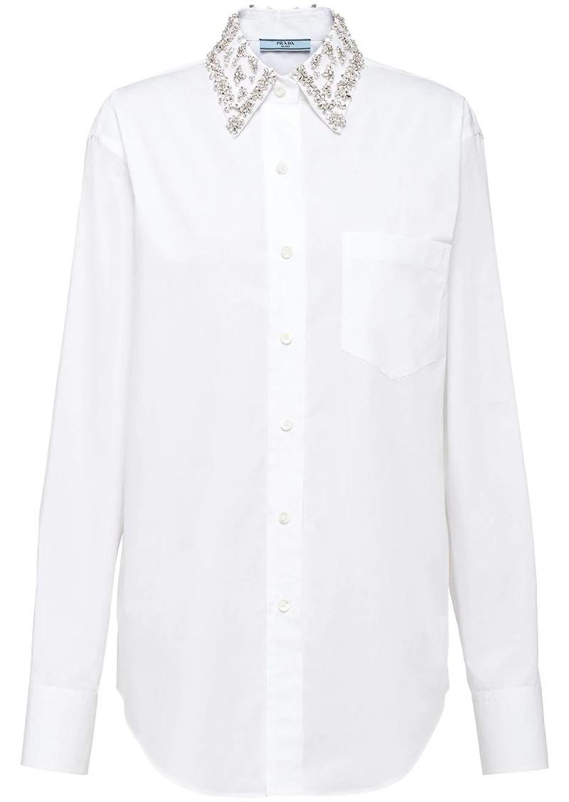 Prada crystal collar poplin blouse
