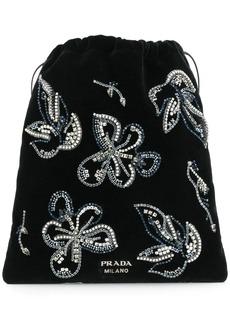 Prada crystal embellished floral pouch