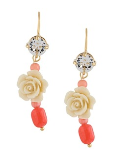 Prada crystal-embellished rose pendant earrings
