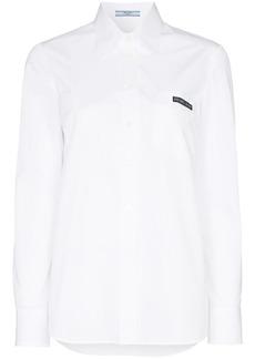 Prada cut-out detail long-sleeved cotton shirt