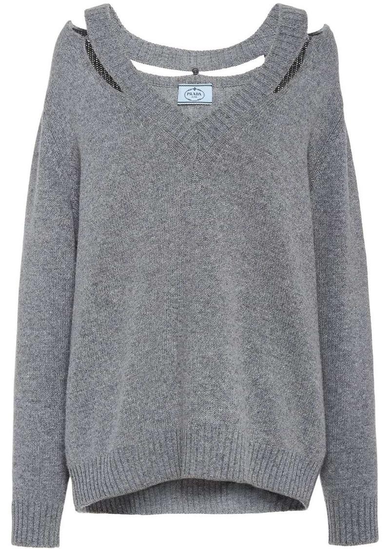 Prada cut-out detailed jumper