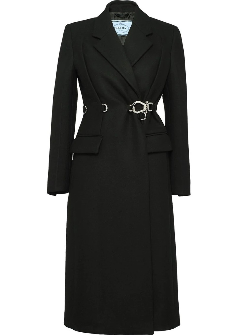Prada double-breasted clip coat