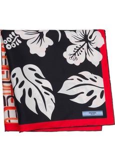 Prada Double Match Hibiscus 55 scarf