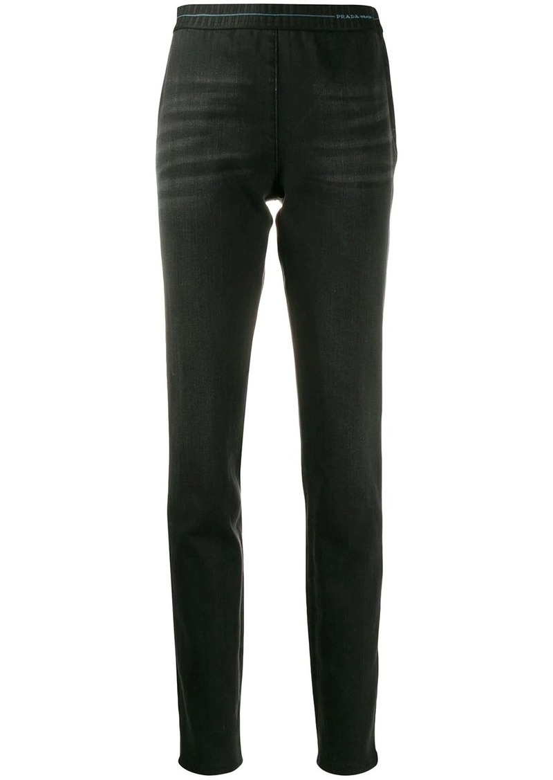 Prada elasticated waistband logo jeggings