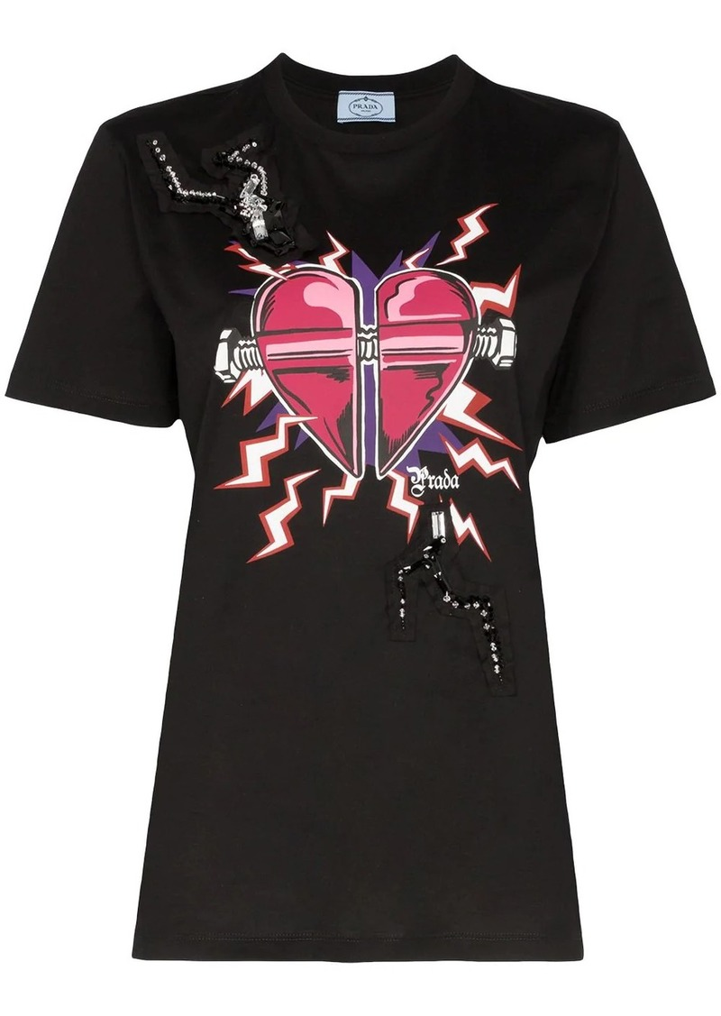 Prada embellished Heart print T-shirt