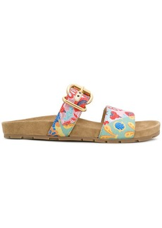 Prada embroidered foot bed sandals
