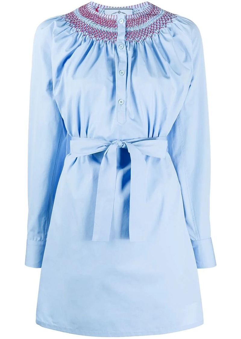 Prada embroidered tie waist shirt dress